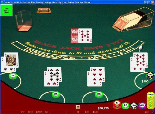 Screenshot of CVBasic Blackjack